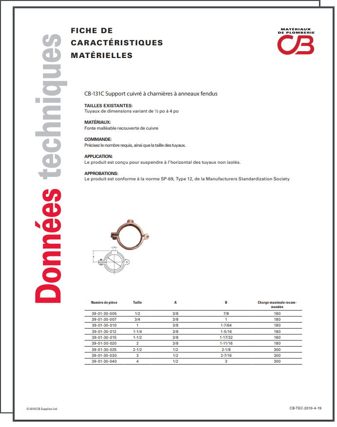 French TechData Sheet - CB131C