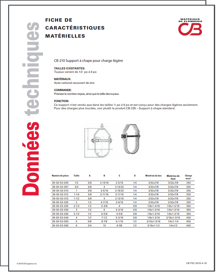 French TechData Sheet - CB210