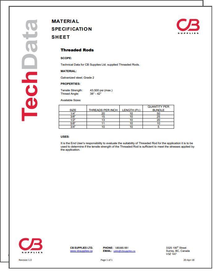 TechData Sheet - Threaded Rod
